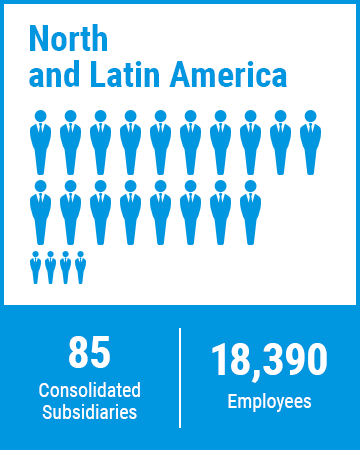 North and Latin America 85 Consolidated Subsidiaries 18,390 Employees